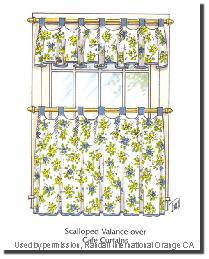 Scalloped Valance with Cafe Curtain by