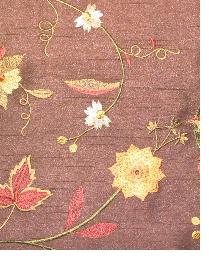 Valiant Garden Embroidery Chocolate Fabric