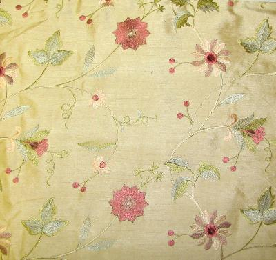 Valiant Fabrics Garden Embroidery Coffee
