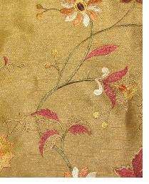 Valiant Garden Embroidery Dark Gold Fabric