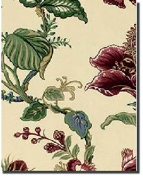 Beige Medium Print Floral Fabric  Montague Parchment