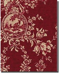 red french country toile fabric country house toile red