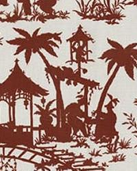 Red Oriental Fabric  Canton Bazaar Lacquer