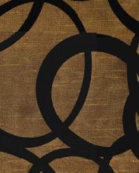 Yellow Circles and Swirls Fabric  Wes Mythmaker Copper-Black