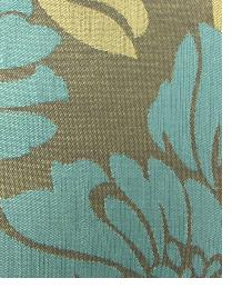 Blue Large Print Floral Fabric  Wes Wishful Taupe Blue