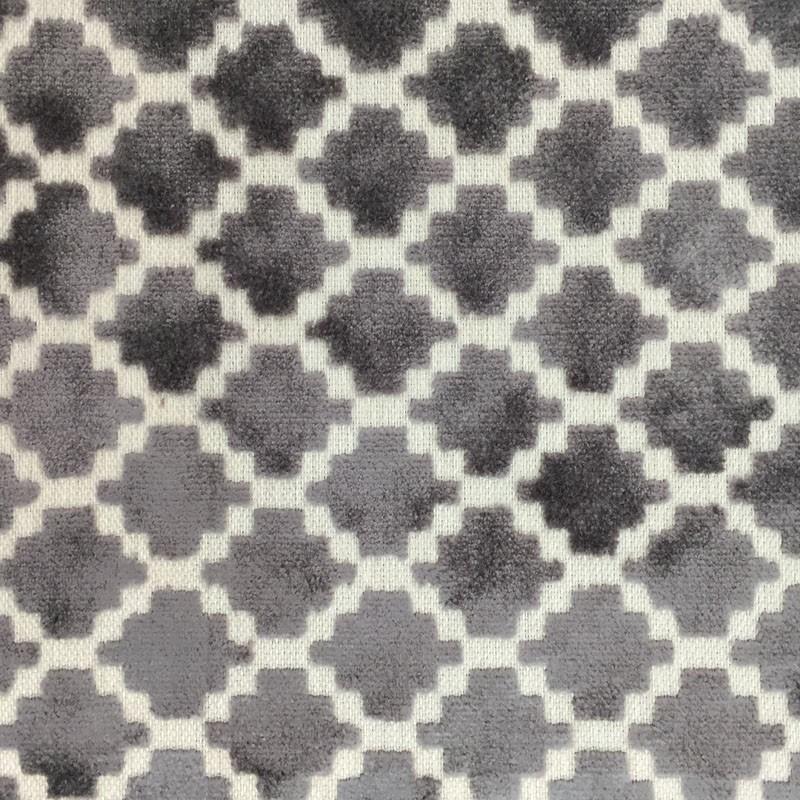 Central 60 Gray Interesting Patterned Velvet Fabric