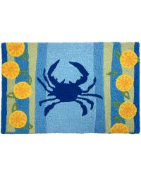 JB-AB003 Lemons and Blue Crab Indoor Outdoor Rug by