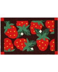 JB-CE019 Strawberries on Black Indoor Outdoor Rug by