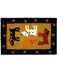 Woof Woof Black Indoor Outdoor Rug by