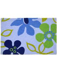 Blue Flowers Indoor Outdoor Rug by
