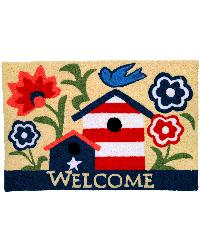 Patriotic Birdhouse Indoor Outdoor Rug by
