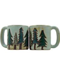 Pine Trees Round Stoneware Mug by