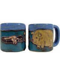 Pigs Round Stoneware Mug by