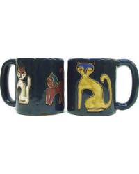 Cats Blue Round Stoneware Mug by