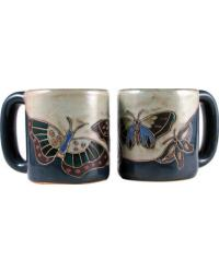 Butterfly Blue Round Stoneware Mug by