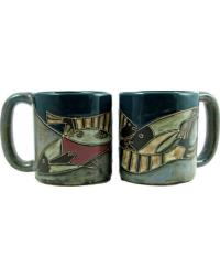 Fish School Round Stoneware Mug by