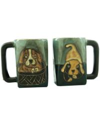 Playful Puppies Square Stoneware Mug  by