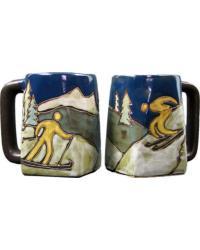 Skiers Square Stoneware Mug by