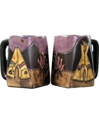 TeePee Camp Fire Square Stoneware Mug by