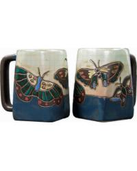 Butterflies Blue Square Stoneware Mug by