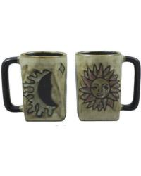 Sun Moon Tan Square Stoneware Mug  by