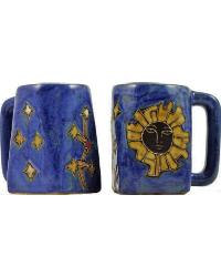 Geo Sun Blue Square Stoneware Mug by