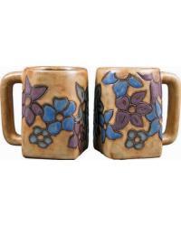 Flowers Square Stoneware Mug by