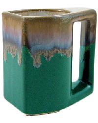 Matte Green Square Mug Set of 4 by