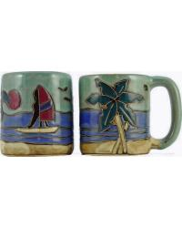 Palm Tree Wind Surfers Round Stoneware Mug by