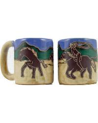 Cowboy w Lasso Round Stoneware Mug by