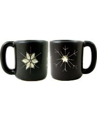 Snow Flakes Round Stoneware Mug by