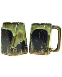 Elephants Square Stoneware Mug by