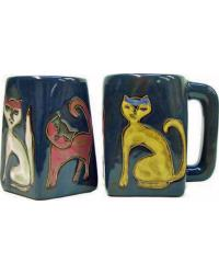 Cats Blue Square Stoneware Mug by