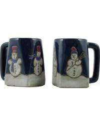 Snowman Square Stoneware Mug by