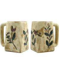 Wild Flowers Square Stoneware Mug by