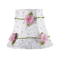 Chandelier Shade - Pink Net Flower - White by