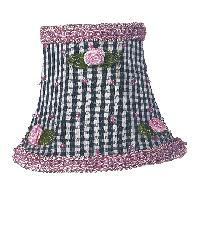 Chandelier Shade - Black Check w/Pink Rosebud by
