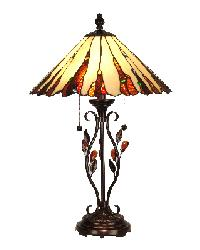 Crystal Jewel Lamp with Amber Crystal Leaves and Metal Base by