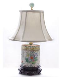 Multi Floral Porcelain Jar Lamp by