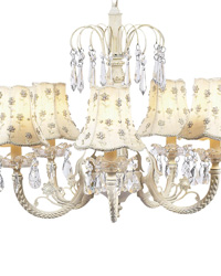 Daisy Pearl Chandelier Shade on Water Fall Chandelier - Ivory by
