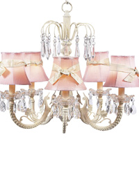 Plain Chandelier Shade w/Sash on Water Fall Chandelier - Pink/Ivory by