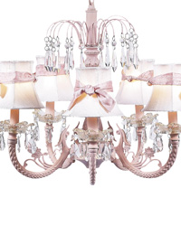Plain Chandelier Shade w/Sash on Water Fall Chandelier - White/Pink by