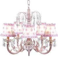 Petal Flower Chandelier on Water Fall Chandelier - White/Pink by