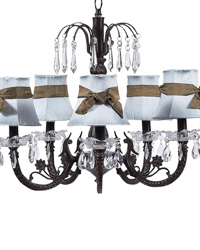Plain Chandelier Shade w/Sash on Water Fall Chandelier - Blue/Brown/Mocha by