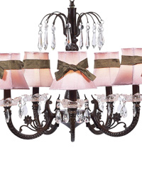 Plain Chandelier Shade w/Sash on Water Fall Chandelier - Pink/Brown/Mocha by