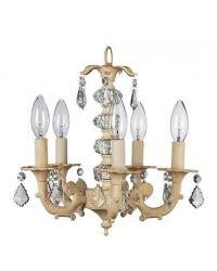 Ivory 5 Arm Stacked Glass Ball Chandelier by