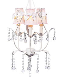 Sconces Shades w/Sash on Pear Chandelier - Pink/White by