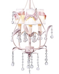 Sconce Shades w/Sash on Pear Chandelier - White/Pink by
