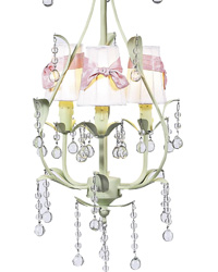 Sconce Shades w/Sash on Pear Chandelier - White/Pink/Soft Green by