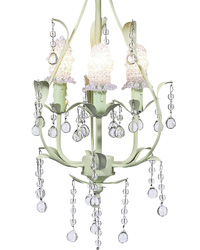 Clear Bulb Covers on Pear Chandelier - Clear/Soft Green by